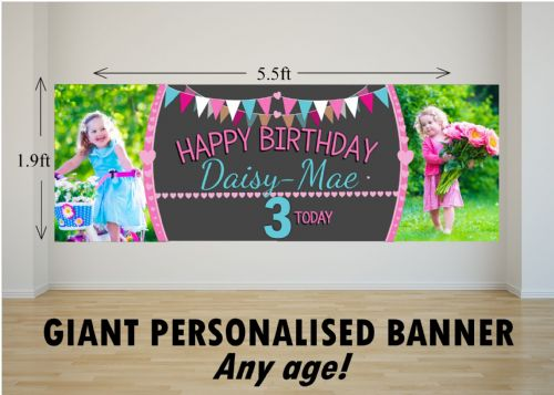 Personalised GIANT Large Girls Bunting & Balloons Happy Birthday PHOTO Poster Banner N54 ANY AGE